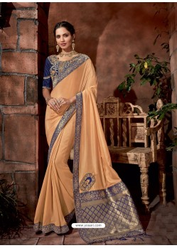 Cream Latest Designer Traditional Party Wear Silk Sari