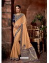 Cream Latest Designer Traditional Party Wear Silk Sari