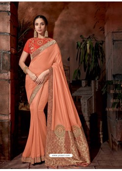 Light Orange Latest Designer Traditional Party Wear Silk Sari