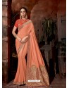 Light Orange Latest Designer Traditional Party Wear Silk Sari