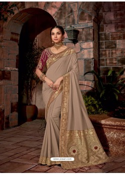 Light Brown Latest Designer Traditional Party Wear Silk Sari