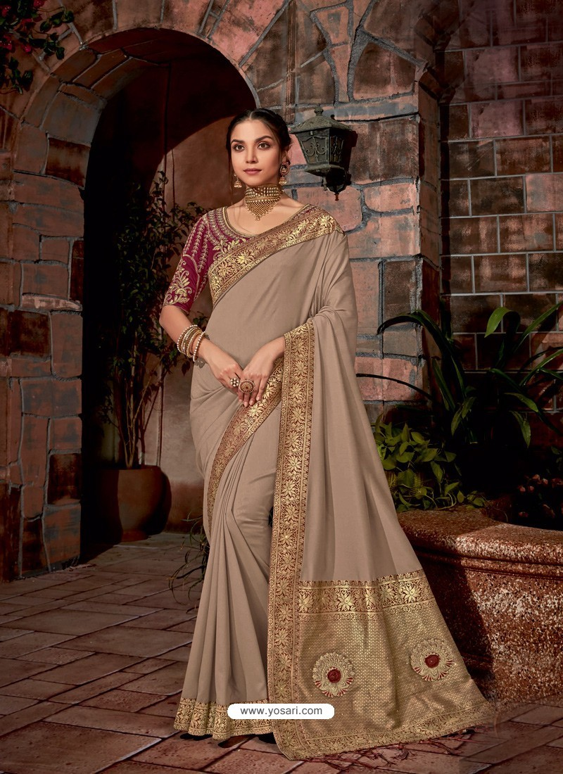 Light Brown Latest Designer Traditional Party Wear Silk Sari