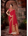 Red Latest Designer Traditional Party Wear Silk Sari