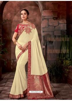 Off White Latest Designer Traditional Party Wear Silk Sari