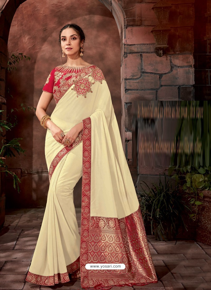 Off White Latest Designer Traditional Party Wear Silk Sari