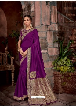 Purple Latest Designer Traditional Party Wear Silk Sari