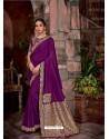 Purple Latest Designer Traditional Party Wear Silk Sari
