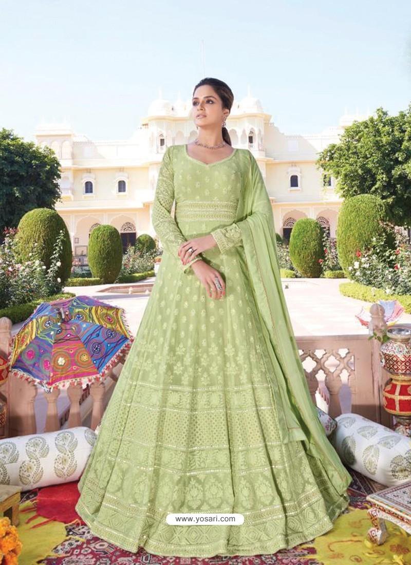 Green Heavy Faux Georgette Designer Party Wear Anarkali Suit