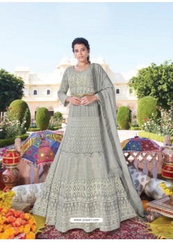 Grey Heavy Faux Georgette Designer Party Wear Anarkali Suit