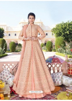 Light Orange Heavy Faux Georgette Designer Party Wear Anarkali Suit