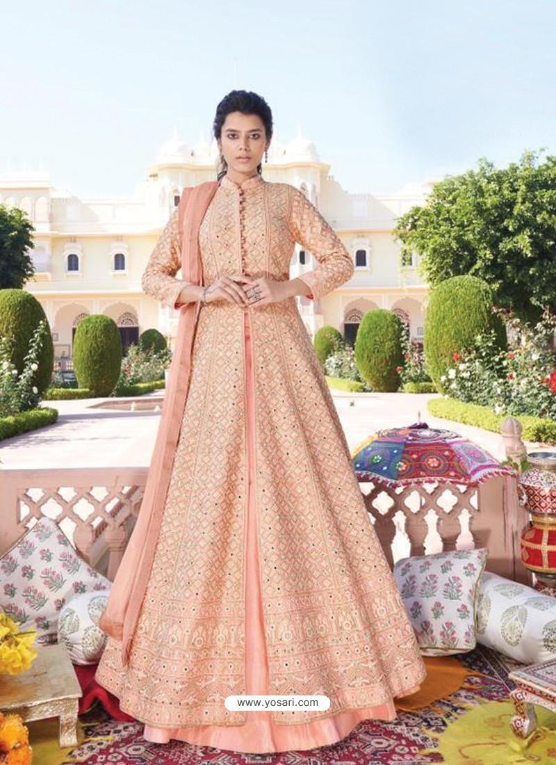Light Orange Heavy Faux Georgette Designer Party Wear Anarkali Suit
