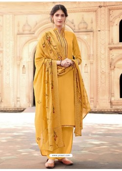 Yellow Cotton Silk Designer Party Wear Palazzo Salwar Suit