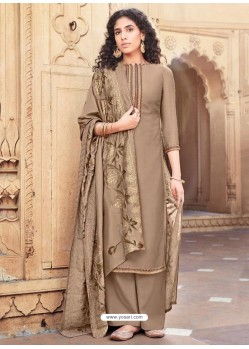 Beige Cotton Silk Designer Party Wear Palazzo Salwar Suit