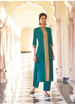 Turquoise Designer Readymade Party Wear Kurti With Palazzo
