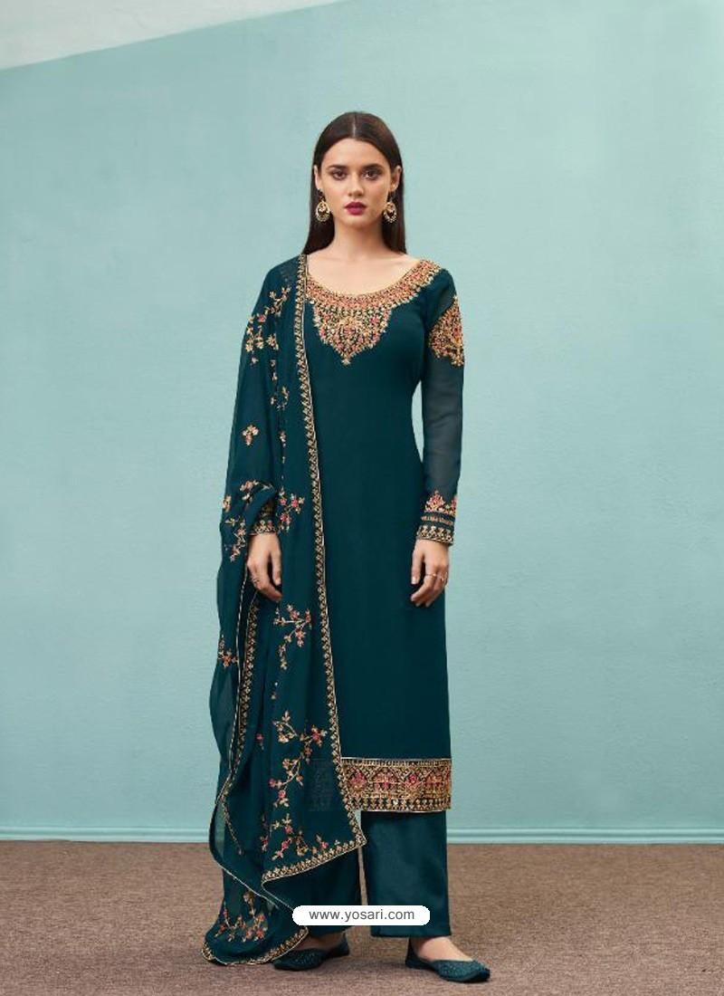 Teal Blue Real Georgette Designer Party Wear Palazzo Salwar Suit
