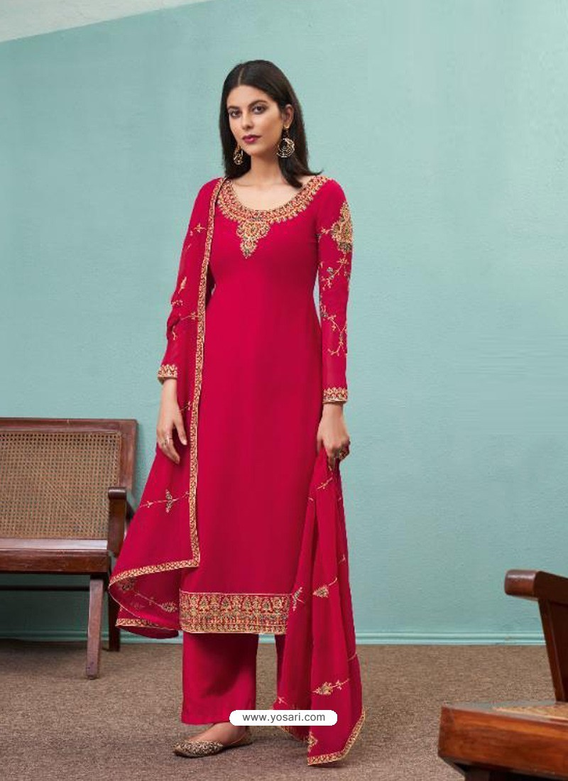 Rose Red Real Georgette Designer Party Wear Palazzo Salwar Suit