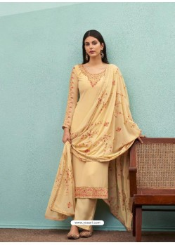 Cream Real Georgette Designer Party Wear Palazzo Salwar Suit