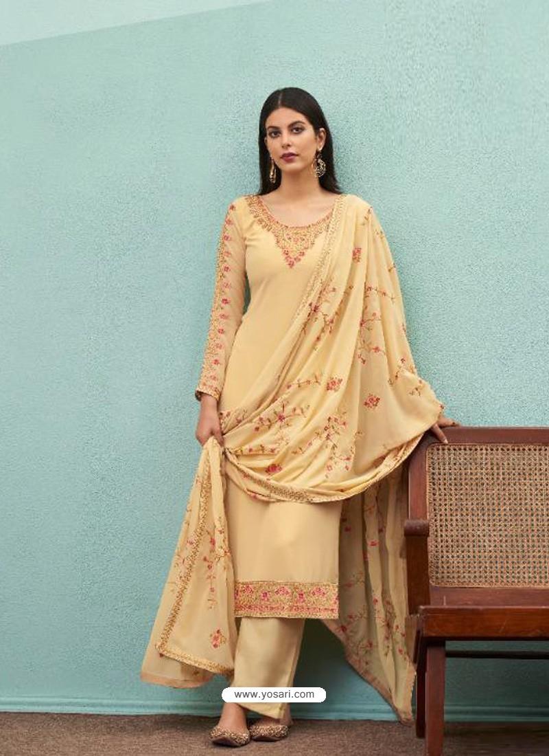 Cream Real Georgette Designer Party Wear Palazzo Salwar Suit
