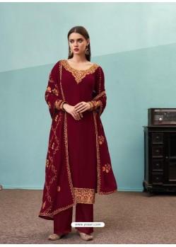 Maroon Real Georgette Designer Party Wear Palazzo Salwar Suit
