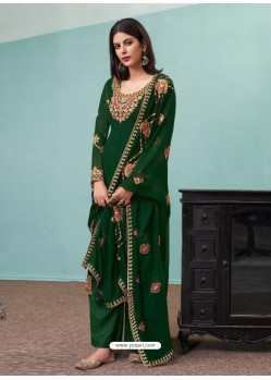 Dark Green Real Georgette Designer Party Wear Palazzo Salwar Suit
