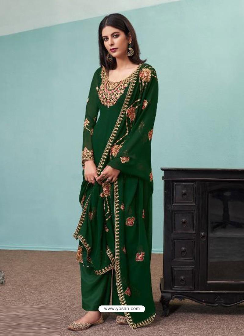 Dark Green Real Georgette Designer Party Wear Palazzo Salwar Suit