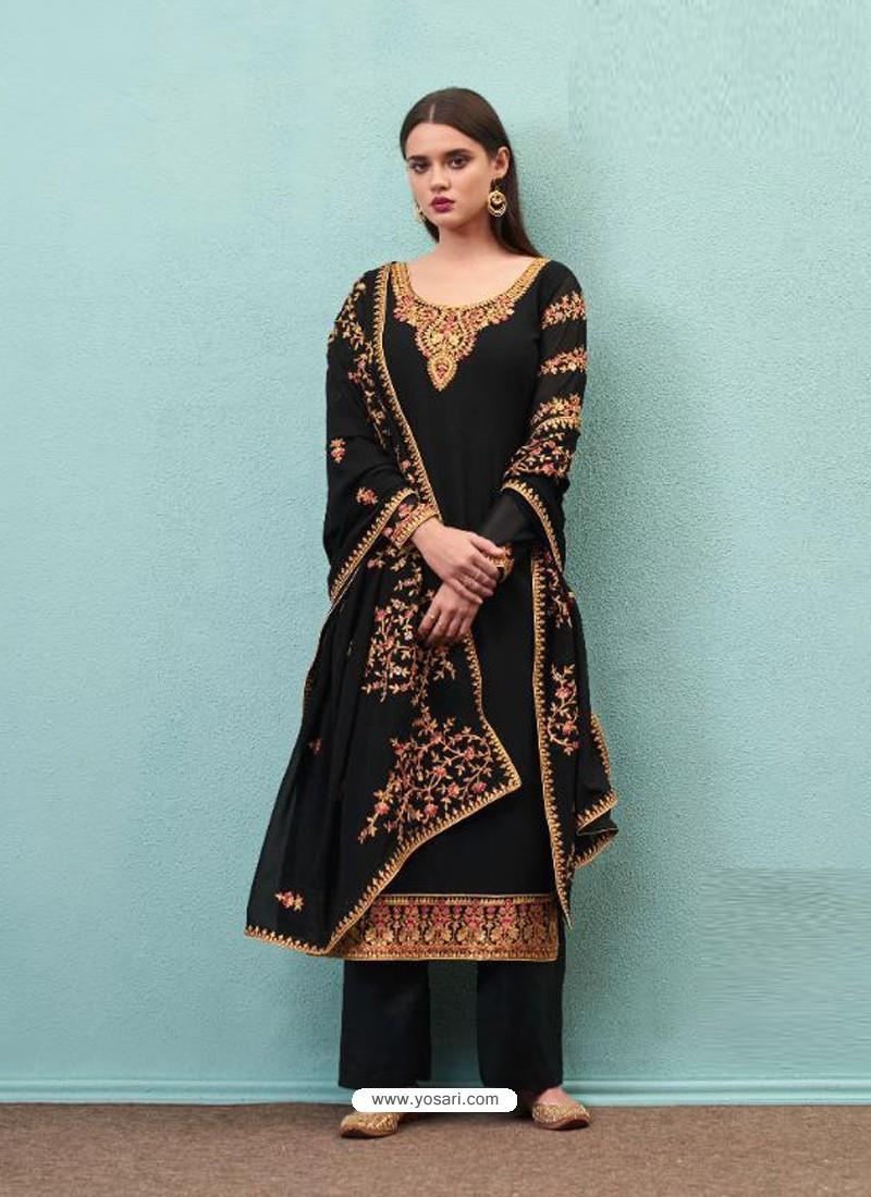Black Real Georgette Designer Party Wear Palazzo Salwar Suit