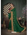 Dark Green Latest Designer Traditional Party Wear Silk Sari