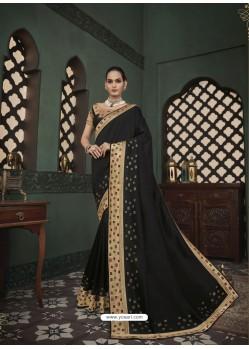 Black Latest Designer Traditional Party Wear Silk Sari