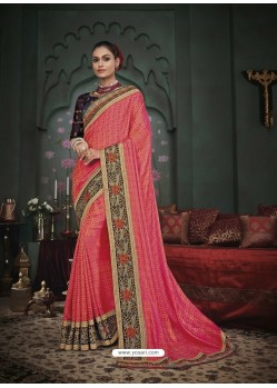 Peach Latest Designer Traditional Party Wear Silk Sari