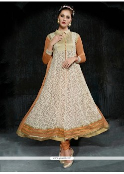 Mesmerizing Embroidered Work Beige Net Anarkali Salwar Suit