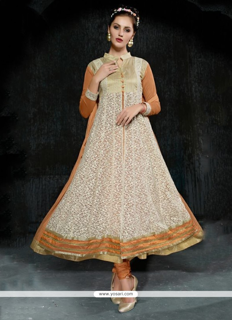 Mesmerizing Embroidered Work Beige Net Anarkali Salwar Suit
