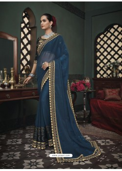 Teal Blue Latest Designer Traditional Party Wear Silk Sari