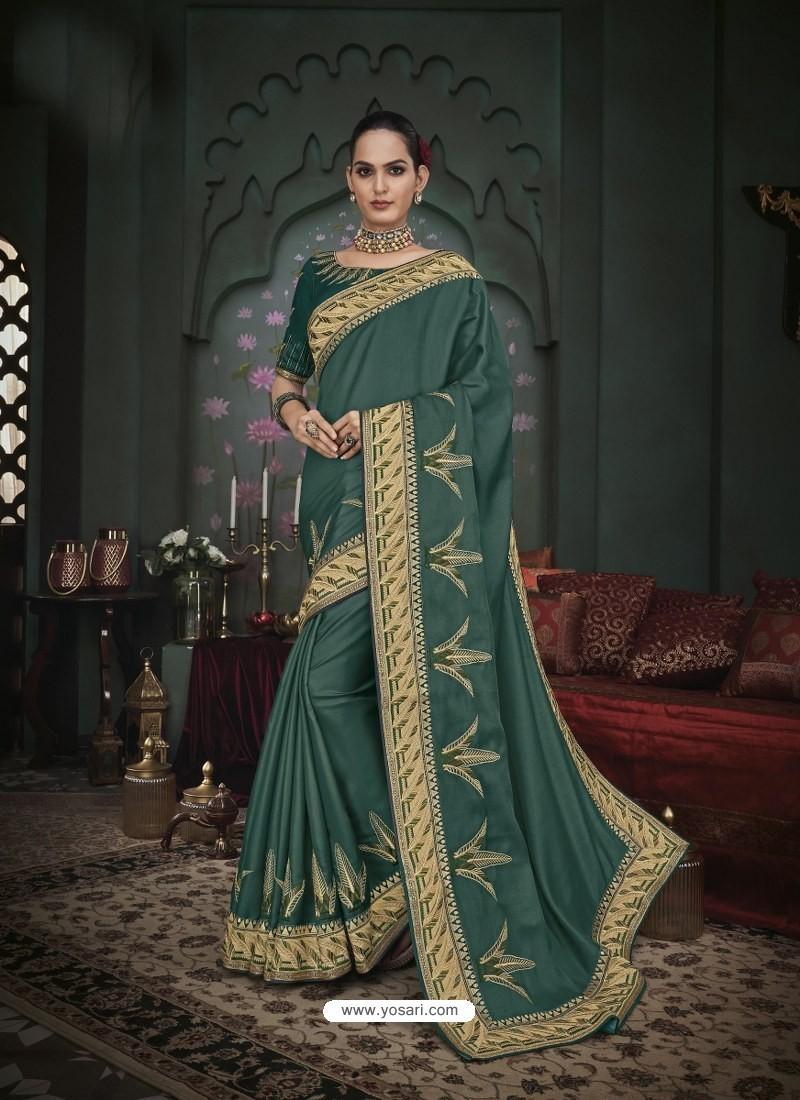 Teal Latest Designer Traditional Party Wear Silk Sari