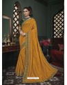 Yellow Latest Designer Traditional Party Wear Silk Sari