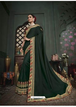 Dark Green Latest Designer Traditional Party Wear Silk Sari