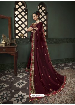 Maroon Latest Designer Traditional Party Wear Silk Sari