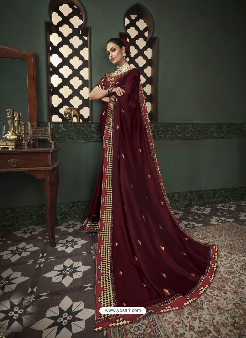 Maroon Latest Designer Traditional Party Wear Silk Sari