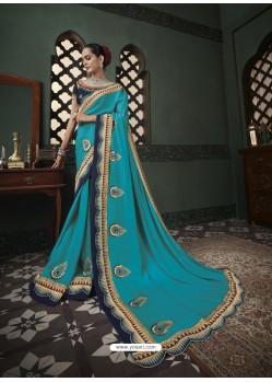 Blue Latest Designer Traditional Party Wear Silk Sari