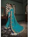 Blue Latest Designer Traditional Party Wear Silk Sari