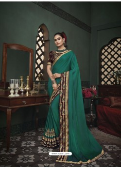 Teal Latest Designer Traditional Party Wear Silk Sari