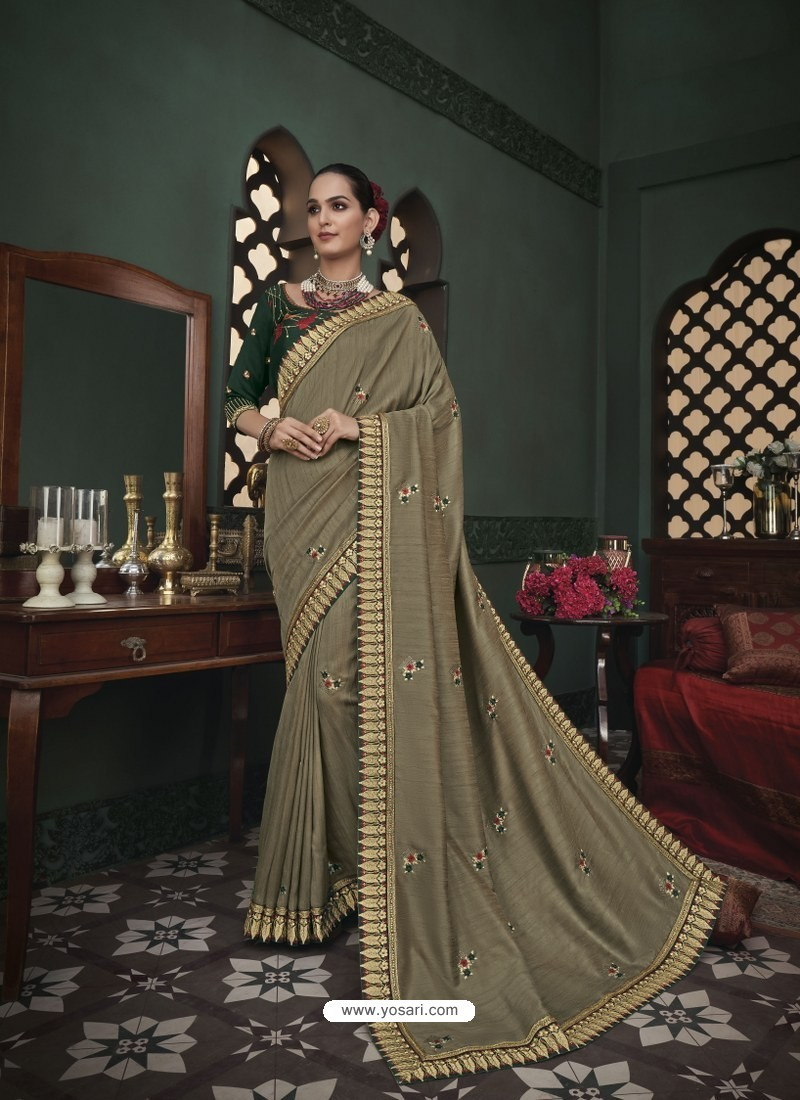 Taupe Latest Designer Traditional Party Wear Silk Sari
