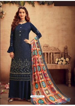 Navy Blue Faux Georgette Designer Party Wear Palazzo Salwar Suit