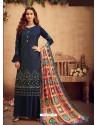 Navy Blue Faux Georgette Designer Party Wear Palazzo Salwar Suit