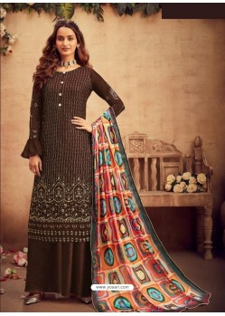 Coffee Faux Georgette Designer Party Wear Palazzo Salwar Suit