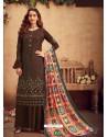 Coffee Faux Georgette Designer Party Wear Palazzo Salwar Suit