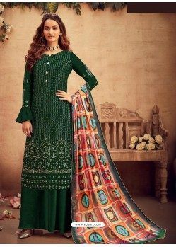 Dark Green Faux Georgette Designer Party Wear Palazzo Salwar Suit