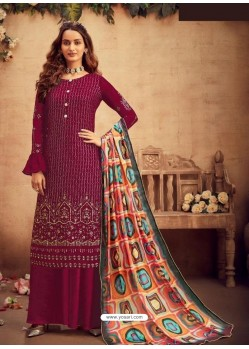 Maroon Faux Georgette Designer Party Wear Palazzo Salwar Suit