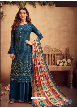 Teal Blue Faux Georgette Designer Party Wear Palazzo Salwar Suit