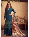 Teal Blue Faux Georgette Designer Party Wear Palazzo Salwar Suit
