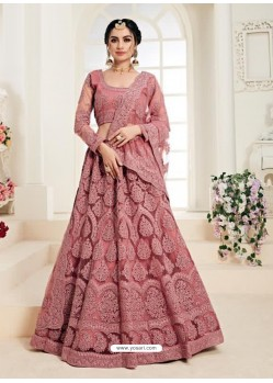 Old Rose Heavy Embroidered Designer Wedding Lehenga Choli